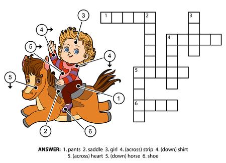Vector kleur kruiswoordraadsel, onderwijs spel voor kinderen. Meisje op een paard