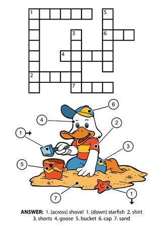 small children: Vector color crossword, education game for children. Small goose sitting on the beach and building sand castles Illustration