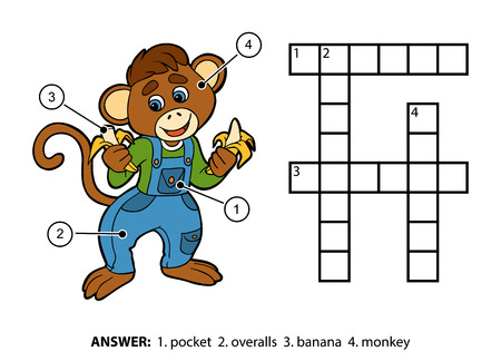 overalls: Vector color crossword, education game for children. Little monkey in denim overalls eating bananas Illustration