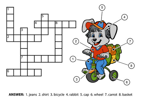 crossword puzzle: Vector color crossword, education game for children. Little rabbit riding a bicycle Illustration