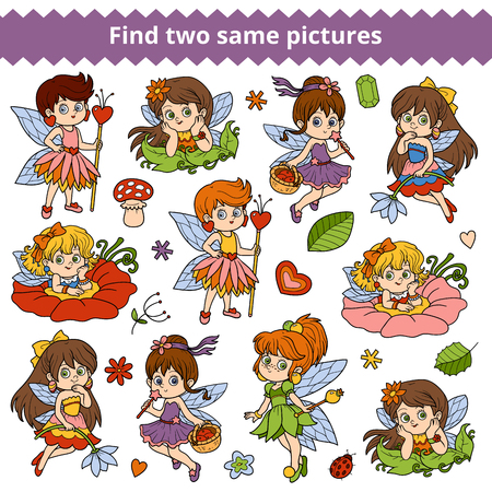 two children: Find two same pictures, education game for children. Vector set of little fairy girl