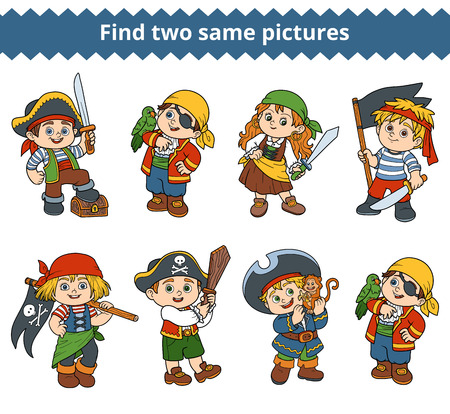 find: Find two same pictures, education game for children. Vector black and white characters of pirates