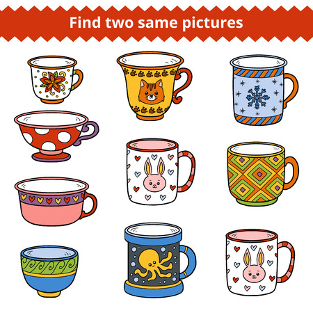 Find two same pictures, education game for children. Vector set of dishes Illustration