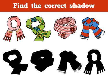scarves: Find the correct shadow, education game for children. Set of knitted scarves