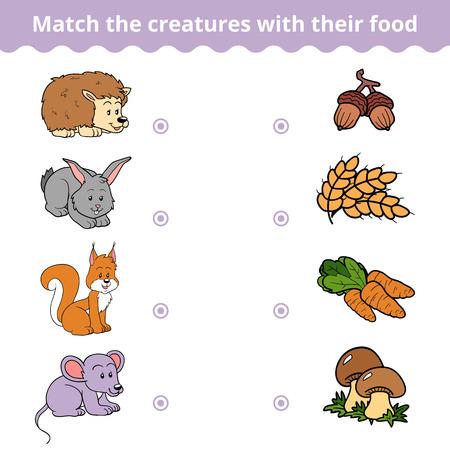 animales del bosque: juego de correspondencias para los niños, juegos de educación de vectores (animales y comida favorita)
