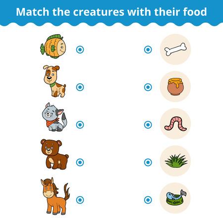 gusano caricatura: juego de correspondencias para los niños, juegos de educación de vectores (animales y comida favorita)