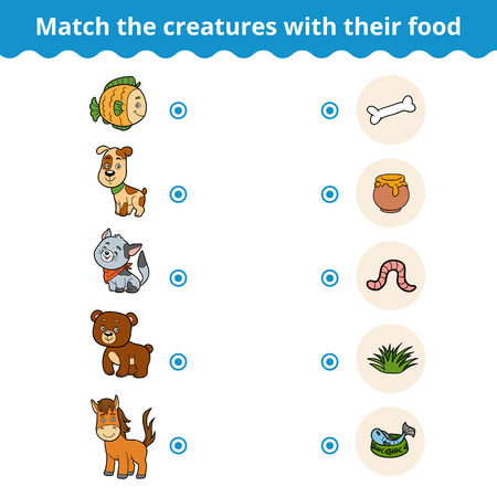 worm cartoon: Matching game for children, vector education game (animals and favorite food)