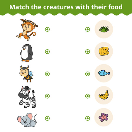cheese cartoon: Matching game for children, vector education game (animals and favorite food)