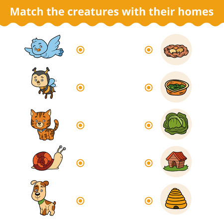 match: Matching game for children, vector education game (animals and their homes)
