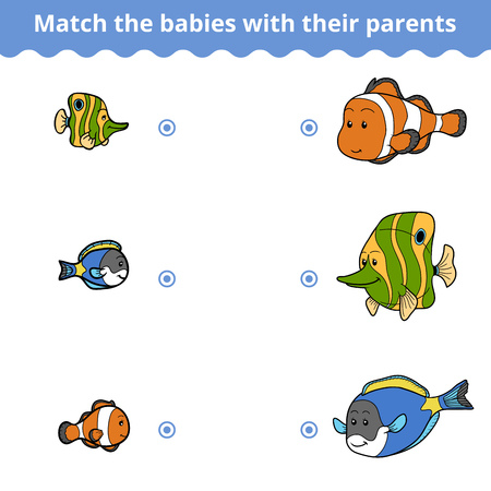 game fish: Matching game for children, vector education game (fish family)