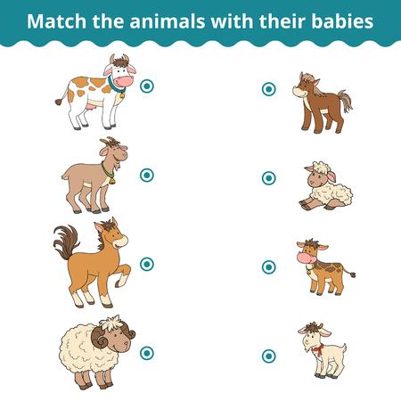 Matching game voor kinderen, vector onderwijs spel (boerderijdieren en baby's)