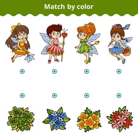 color match: Matching game for children. Match by color (fairy)