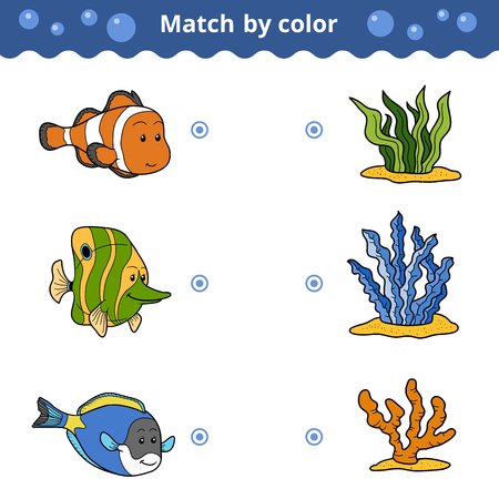 Matching game for children. Match by color (fish)