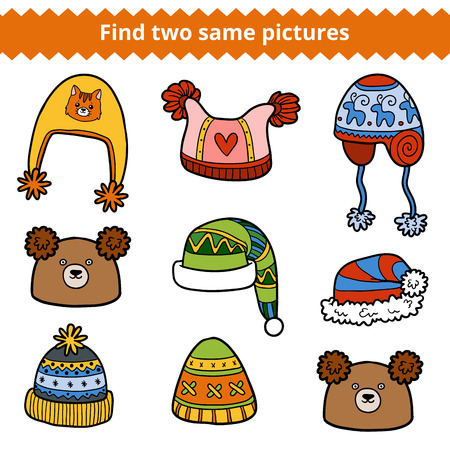 two animals: Find two same pictures, education game for children. Vector colorful set of knitted hats with animals and geometric patterns