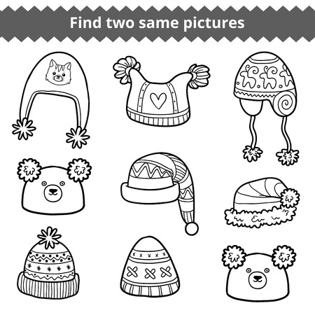 two animals: Find two same pictures, education game for children. Vector black and white set of knitted hats with animals and geometric patterns