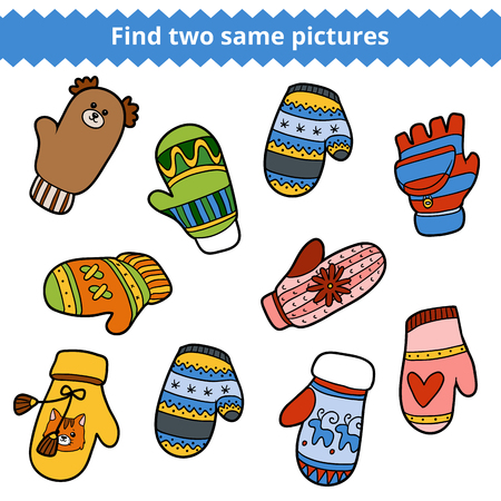 two animals: Find two same pictures, education game for children. Colorful set of knitted mittens with animals and geometric patterns