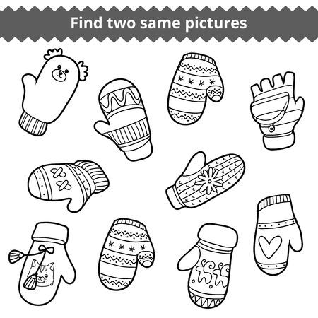 어린이를위한 교육 게임 인 두 개의 동일한 그림을 찾습니다. 흑백 동물과 기하학 패턴과 니트 장갑 세트