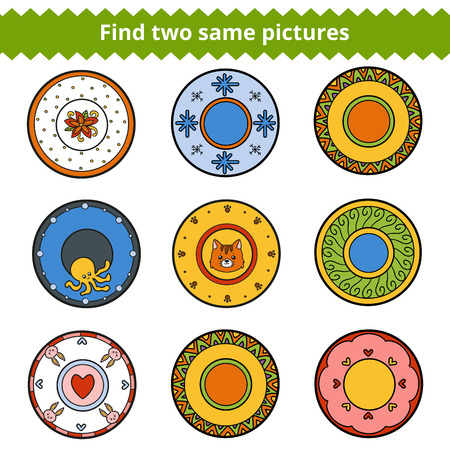 two animals: Find two same pictures, education game for children. Vector colorful plates with animals and geometric ornaments Illustration