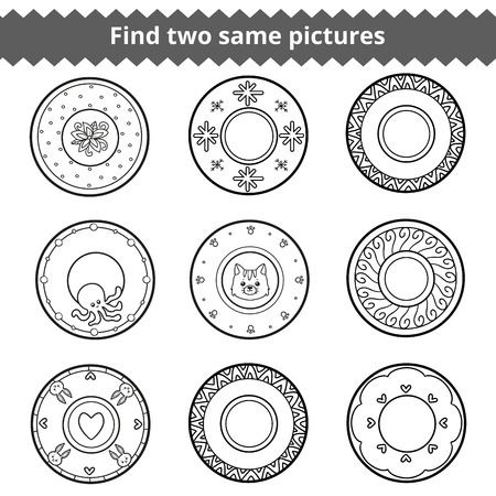 two animals: Find two same pictures, education game for children. Vector black and white plates with animals and geometric ornaments Illustration