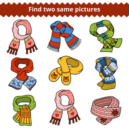 scarves: Find two same pictures, education game for children. Colorful set of knitted scarves with animals and geometric patterns