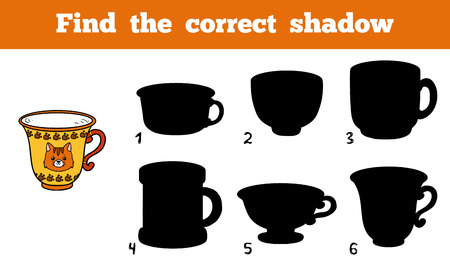 pat: Find the correct shadow, education game for children (cup) Illustration