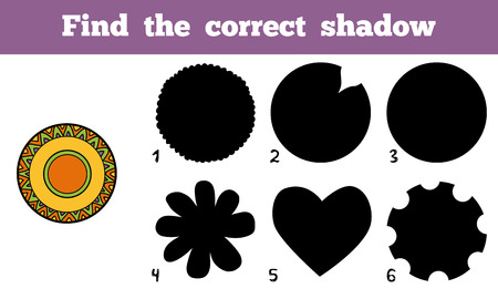 ingestion: Find the correct shadow, education game for children, a plate with geometric pattern