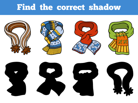 Find the correct shadow, education game for children, set of scarves