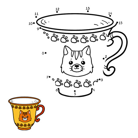 ingestion: Numbers game for children, education dot to dot game. A mug with a cute cat