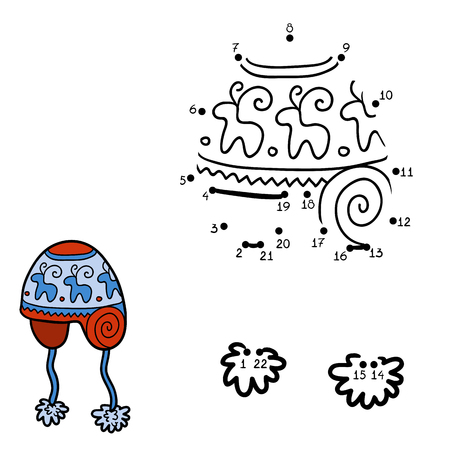 connects: Numbers game, education game for children. Dot to dot game, knitted hat with winter ornament Illustration