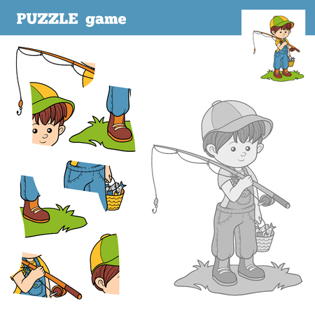 catch: Puzzle Game for children with the boy fisher. Education game Illustration