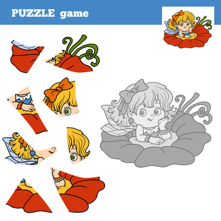 libro caricatura: Puzzle game for children (little fairy), education game