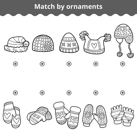 mitten: Matching game for children, education game. Match the mitten and hats by ornaments Illustration