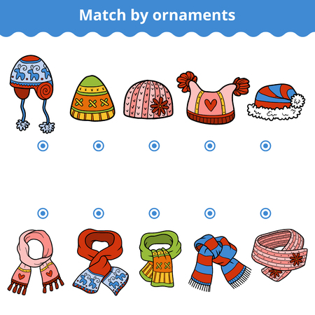 scarves: Matching game for children, education game. Match the scarves and hats by ornaments