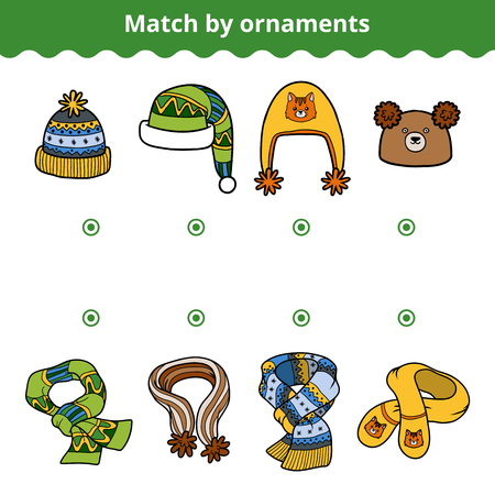 brain game: Matching game for children, education game. Match the scarves and hats by ornaments