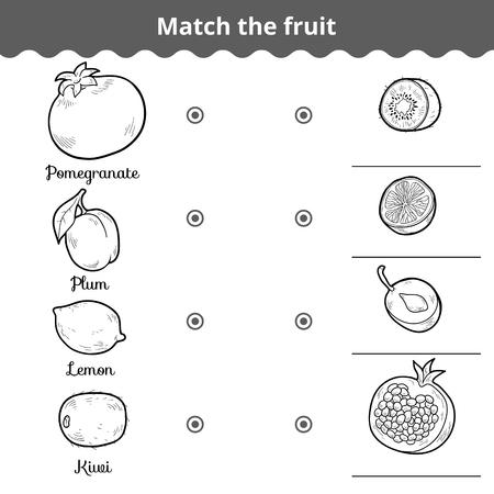 streichholz: Matching-Spiel für Kinder, Bildung Spiel. Ordnen Sie die Früchte