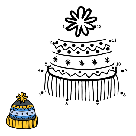 pompon: Numbers game, education game for children. Dot to dot game, knitted hat with winter ornament Illustration