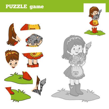 small girl: Puzzle game for children (little girl and small cat), education game Illustration