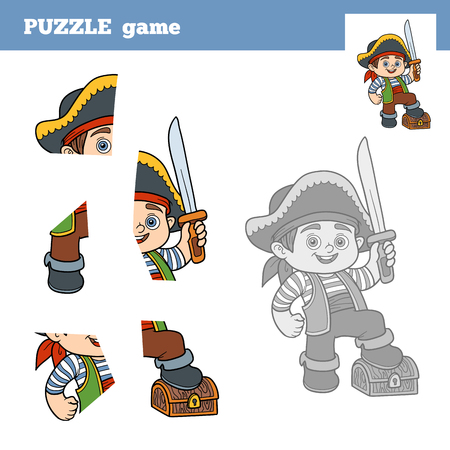 toy chest: Puzzle Game for children (pirate boy and chest of treasure), education game
