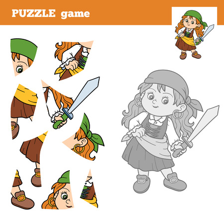 pirate girl: Puzzle Game for children with the pirate girl. Education game Illustration