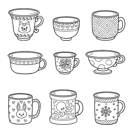variety: Vector black and white set with different empty cups. Cheerful set of dishes for children Illustration