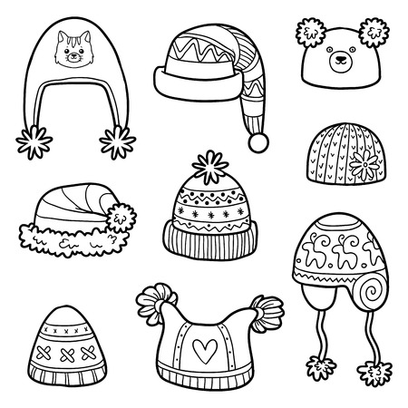 Vector set of different winter hats. Black and white set of knitted hats with animals and geometric patterns