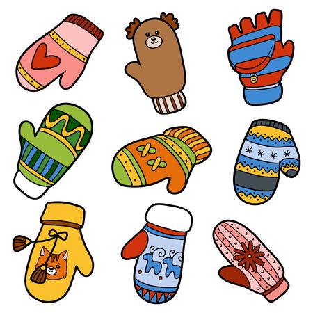 다른 겨울 장갑의 집합입니다. 동물과 기하학적 인 패턴 니트 장갑의 다채로운 세트