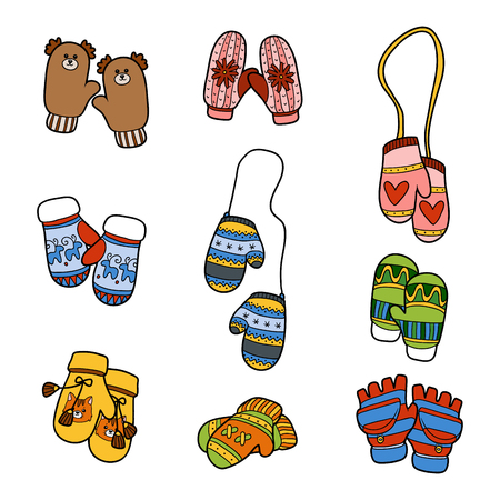 warm clothes: Vector set of different winter mittens. Colorful set of knitted mittens with animals and geometric patterns Illustration