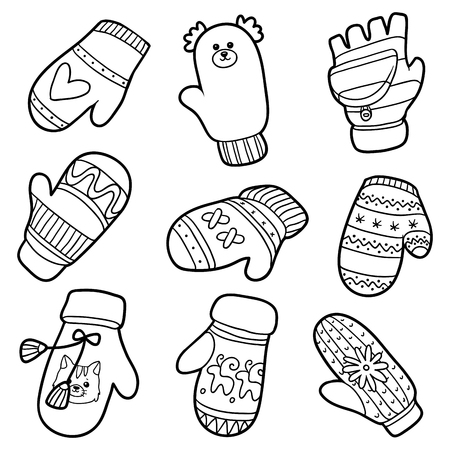 Conjunto de diversos guantes de invierno. Conjunto blanco y negro de las manoplas de punto con animales y figuras geométricas