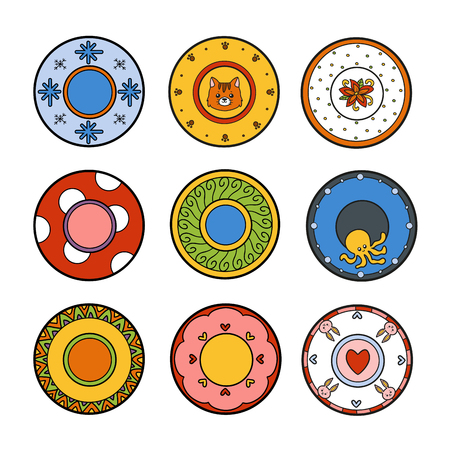 various: Vector colorful set of plates with various patterns. Nine cute plates with animals and geometric ornaments