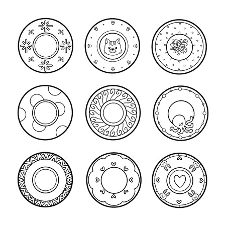 kitchen illustration: Vector black and white set of plates with various patterns. Nine cute plates with animals and geometric ornaments Illustration