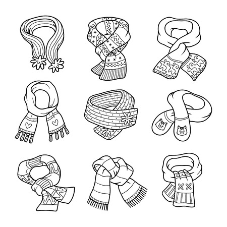 scarves: Vector black and white set of scarves with animals and geometric ornaments