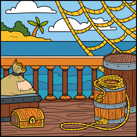 natural color: Vector illustration, natural background. Color location  for pirates and sailors, the wooden deck of a ship. Illustration