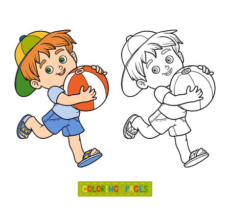 inflatable ball: Coloring book for children. Little boy with inflatable ball
