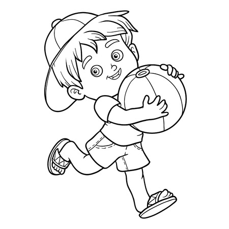 children book: Coloring book for children. Little boy with inflatable ball